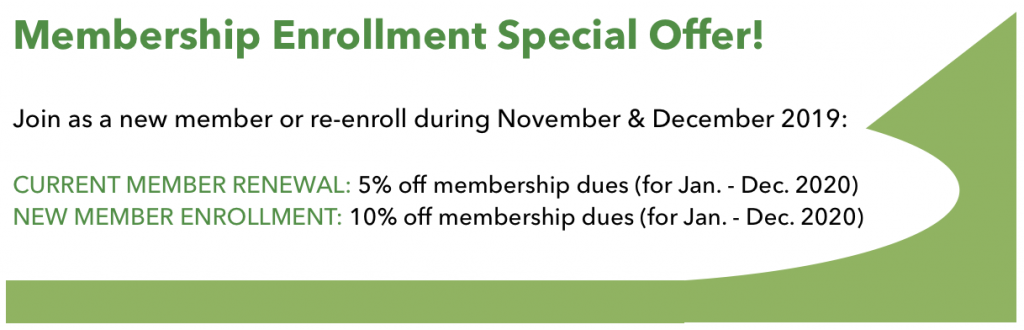 TVNPA Membership Enrollment Special:  Join as a new member or re-enroll during November & December, 2019! Renewing members save 5% & new members save 10%!