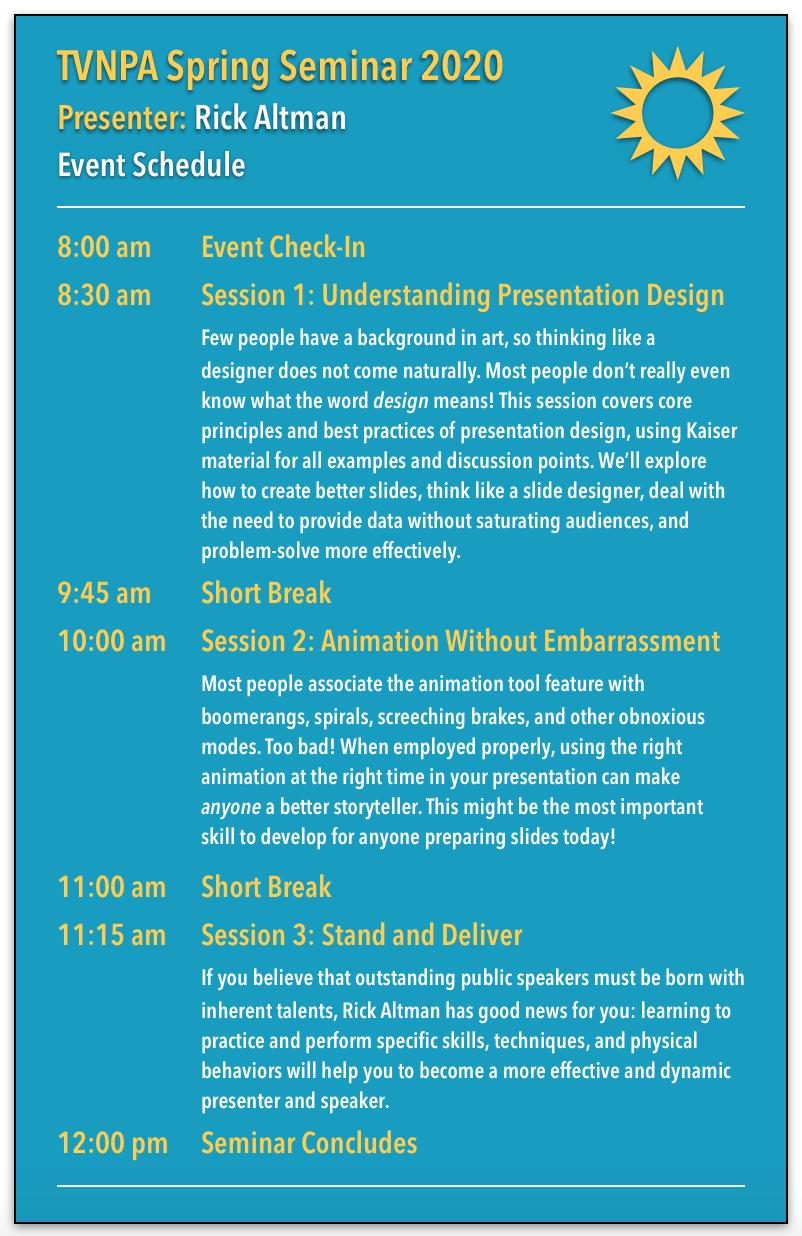 TVNPA Spring Seminar 2020 Session Information